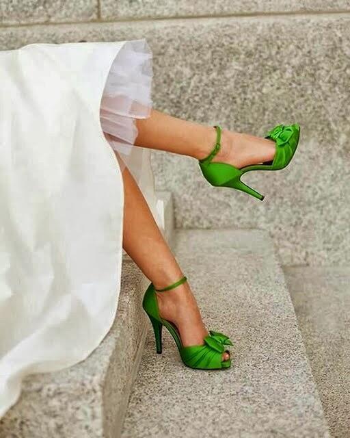 zapatos novia verdes